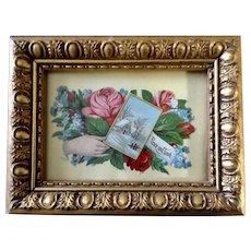Victorian 1875-1880 Gorgeous Floral Motif Hand Peace & Love Die-Cut Embossed Paper Scrap Greeting