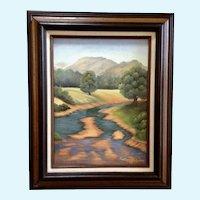 KorDova Lockwood (1920 - 2008) River Landscape Acrylic Painting