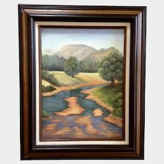 KorDova Lockwood (1920 - 2008) River Landscape Acrylic Painting on Canvas Signed by Artist