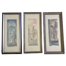 Old City Jerusalem Original Watercolor Mixed Media Paintings Signed by Artist