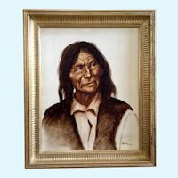 Charles Samuel La Monk (LaMonk) (1910 - 1990) Figural North American Indian Oil Painting on Canvas Signed by Artist