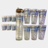 Cera glass Roman Greek Key, Etruscan Friese Corinthian Blue, Greek Figures 15 pc.  8 Shot glasses 6 Highball and 1 Shaker