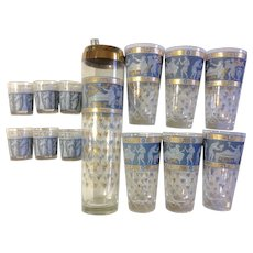 Cera glass Roman Greek Key, Etruscan Friese Corinthian Blue, Greek Figures 15 pc.  8 Shot glasses 6 Highball and 1 Shaker