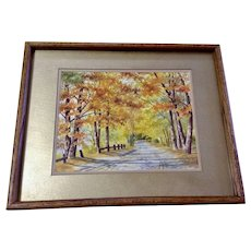 Elinor (Ellie) Sethman, 'Autumn Lane' Fall Landscape Watercolor Painting Signed by California Artist