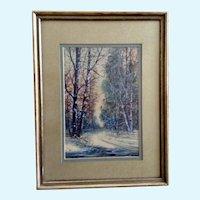 Raphael Senseman (1870 - 1965) Road Through a Forest Landscape Watercolor Painting