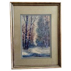 Raphael Senseman (1870 - 1965) Road Through a Forest Landscape Watercolor Painting Signed by Listed New Jersey Artist