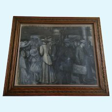 Alice Gadtri, Figures in Train Station 1908 Grisaille Watercolor Painting