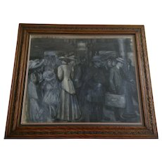 Alice Gadtri, Figures in Train Station 1908 Grisaille Watercolor Painting Signed by Artist