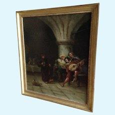 Max Gaisser (1857 - 1922) Interior Tavern Minstrel Scene Figural Original Oil Painting