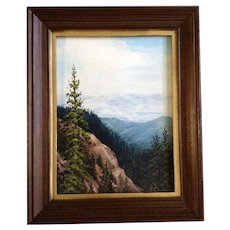 L Crouse, Snow Covered Mountain Range View Landscape Oil Painting Signed by Artist