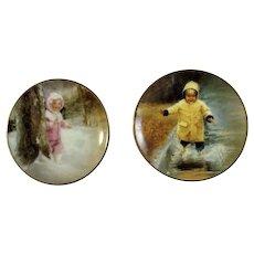 Donald Zolan Miniature Children Plates, Little Splasher & Snowy Adventure 1993-1995, 3-1/4 inches