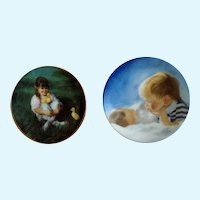 Donald Zolan Miniature Children Plates, Lap of Love & Brotherly Love