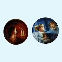 Donald Zolan Miniature Children Plates, Candlelight Magic & Window of Dreams