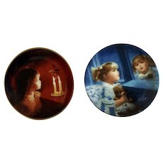 Donald Zolan Miniature Children Plates, Candlelight Magic 1994 & Window of Dreams 1992, 3-1/4 inches