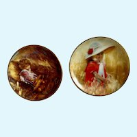 Donald Zolan Miniature Children Plates, Jessica's Field 1993 & Golden Harvest 1995, 3-1/4 inches