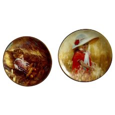 Donald Zolan Miniature Children Plates, Jessica's Field 1993 & Golden Harvest 1995, 3-1/4 inches