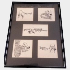 Monogramed By Artist DP, The Brass Band Horn Set, Pen and Ink Works on Paper, Hand Drawn Illustration Pictures