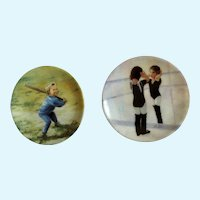 Donald Zolan Miniature Children Plates, Little Ballerina 1995 & Little Slugger 1994, 3-1/4 inches