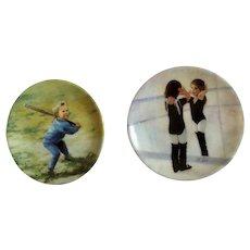 Donald Zolan Miniature Children Plates, Little Ballerina 1995 & Little Slugger 1994, 3-1/4 inches