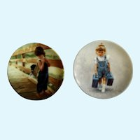 Donald Zolan Miniature Children Plates, Almost Home 1992 & Little Traveler 1993, 3-1/4 inches