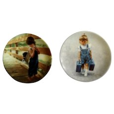 Donald Zolan Miniature Children Plates, Almost Home 1992 & Little Traveler 1993, 3-1/4 inches