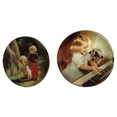 Donald Zolan Miniature Children Plates, Forest Friends 1993 & Song for Two 1995, 3-1/4 inches