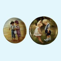 Donald Zolan Miniature Children Plates, Seaside Treasures 1994 & New Shoes 1993, 3-1/4 inches
