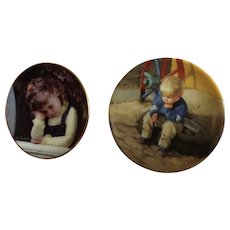Donald Zolan Miniature Children Plates, Time Out 1996 & The Thinker 1991, 3-1/4 inches