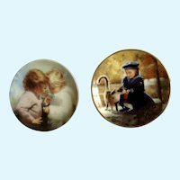 Donald Zolan Miniature Children Plates, Secret Friends 1995 & Tiny Treasures 1993, 3-1/4 inches