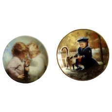 Donald Zolan Miniature Children Plates, Secret Friends 1995 & Tiny Treasures 1993, 3-1/4 inches