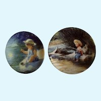 Donald Zolan Miniature Children Plates, One Summer Day & Little Fisherman