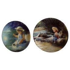 Donald Zolan Miniature Children Plates, One Summer Day 1994 & Little Fisherman 1994, 3-1/4 inches