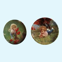 Donald Zolan Miniature Children Plates, Summer Garden 1994 & September Girl 1994, 3-1/4 inches
