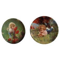 Donald Zolan Miniature Children Plates, Summer Garden 1994 & September Girl 1994, 3-1/4 inches