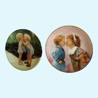 Donald Zolan Miniature Children Plates, Peppermint Kiss 1992 & Tender Hearts 1994, 3-1/4 inches