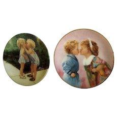 Donald Zolan Miniature Children Plates, Peppermint Kiss 1992 & Tender Hearts 1994, 3-1/4 inches