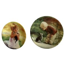 Donald Zolan Miniature Children Plates, My Kitty 1994 & Little Friends 1994, 3-1/4 inches