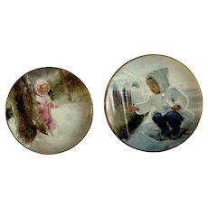 Donald Zolan Miniature Children Plates, Snowy Adventure 1993 & Winter Wonder 1996, 3-1/4 inches