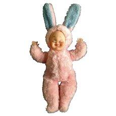 Vintage Rushton Bunny Rabbit Baby Doll Rubber Face Plush The Rushton Company, Atlanta Georgia Mid-Century Stuffed Animal Toy