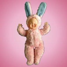 Mid-Century Rushton Doll Rubber Face Bunny Rabbit  Plush The Rushton Company, Atlanta Georgia Stuffed Animal Toy