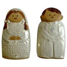 Vintage Fitz & Floyd FF Bride & Groom Wedding Brown Stoneware Salt & Pepper Shakers 1970's Kitchenware, Collectible S&P Figurines