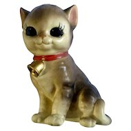 Josef Originals Big Eyed Cat with Bell Collar Ceramic Figurine Japan