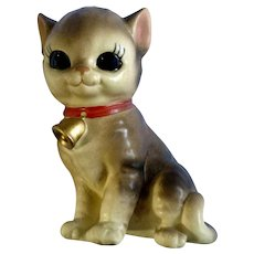 Josef Originals Big Eyed Cat with Bell Collar Ceramic Figurine Japan