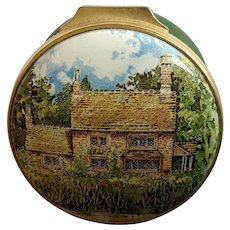 Alastor Enamels English Cottage Hinged Trinket Pill Box Made in England