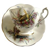 Glengarrys Queen Anne Fine Bone China England Footed Cup and Saucer for Tea or Coffee Clan Macleod