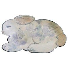 Terry Acker Bunny Rabbit Art Pottery Hand Painted Animal Shaped