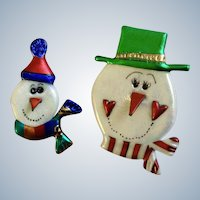Adorable Christmas Sparkling Snowman Made in the U.S.A. Opalescent Colors 2 Pin Set