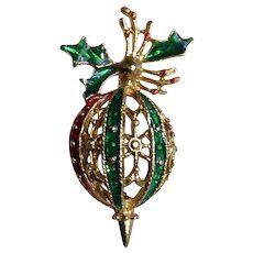 Red, Green and Gold-Tone Christmas Ornament Brooch Pin Costume Jewelry