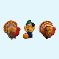 Thanksgiving Turkeys and Scarecrow Fall Harvest Brooch Pins Hallmark Cards 1980's Group
