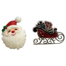 Santa Claus and Sleigh Christmas Brooch Pins Hallmark Cards 1980's Group